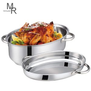 Mr. Rudolf 18/10 Stainless Steel 15-inch Oval Roaster with Lid