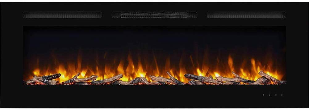 PuraFlame Alice 60 Inch Recessed Electric Fireplace