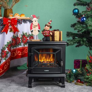 "TURBRO Suburbs 20"" Black Freestanding Electric Fireplace Stove"