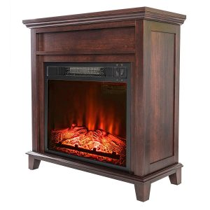"AKDY 27"" Electric Fireplace Freestanding Brown Wooden Mantel Firebox"