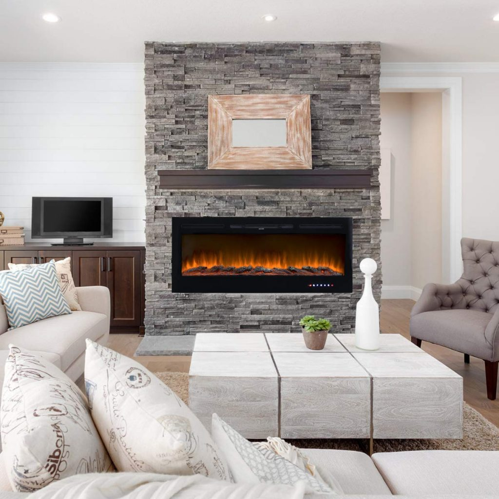 """Homedex 50"""" Recessed Mounted Linear Electric Fireplace"""