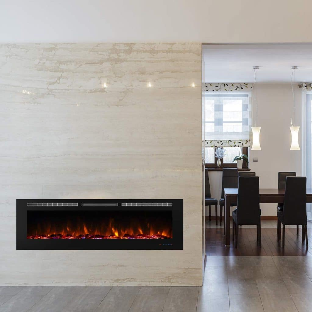 Valuxhome 72 Inches Recessed Electric Fireplace Heater