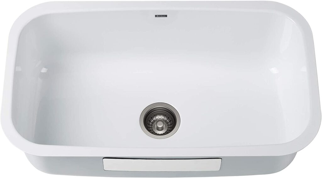 Kraus KEU-14 White Undermount Single Bowl Enameled Stainless Steel