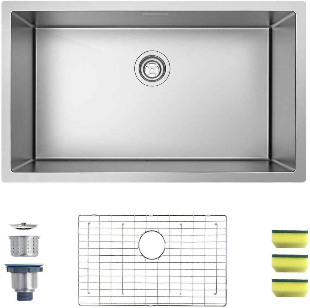 MENSARJOR 30 x 18 Single Bowl Kitchen Sink