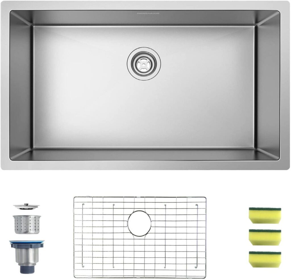 MENSARJOR 32 x 19 Single Bowl Kitchen Sink