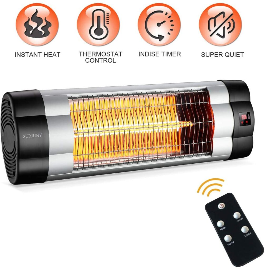 SURJUNY Electric Wall-Mounted Infrared Patio Heater