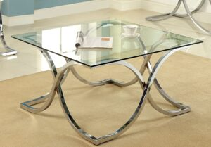 Furniture of America Kavetto Square Glass Top Coffee Table