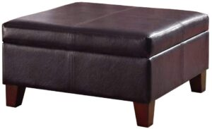 HomePop Faux Leather Square Storage Ottoman Top Coffee Table