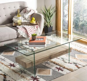Safavieh Glass Top Coffee Table with Storage
