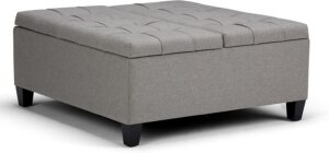 Simpli Home Square Coffee Table Storage Ottoman