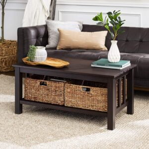 WE Furniture AZ40MSTES Rustic Wood Coffee Table For I Shaped Sectional