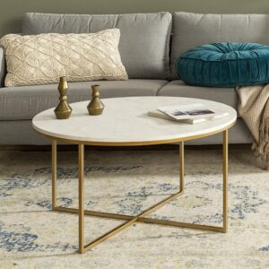 WE Furniture AZF36ALCTMGD Modern Marble Coffee Table