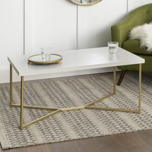 WE Furniture Marble Gold Mid Century Rectangle Coffee Table
