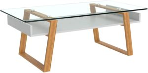 bonVIVO Glass Top Coffee Table with Storage